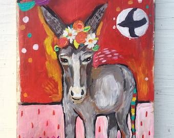 Contemporary Folk Art Donkey Painting on Wood