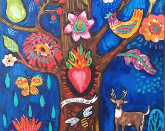 Contempary Folk Art Woodland Painting on Canvas