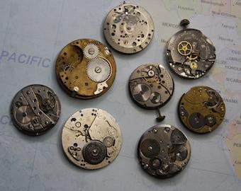 Vintage WATCH MOVEMENTS- Destash Lot- Parts & Steampunk Gears- Clock Parts- Wheels Stem- Repurposed Jewelry Supply