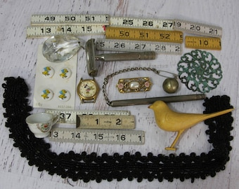 Small COLLECTIBLES- Toy Bird- Vintage Beaded Trim- Rulers- Gillette Razor Verdigris Medallion- Minnie Mouse Watch Crystal- Found Objects