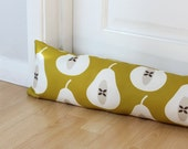 Draught Excluder Pear Fabric Mustard Yellow Scandi Home Patterned Fabric Fruit Kids Kitchen Retro Style Long UK