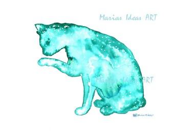 Cat art, Mystical cat, Cat totem, animal totem, modern Cat, Cat print, Blue Cat, pet art , nursery wall art, Marias Ideas