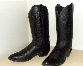 ON SALE Vintage Black on black leather cowboy boots size 8.5 or cowgirl size 10