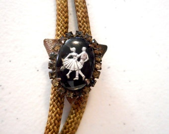 Square Dancers Bolo Tie Country Western Wear Dancing Rhinestones Jewelry Necklace