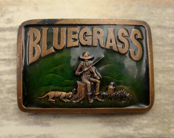 Green Bluegrass Music Belt Buckle Hillbilly Whiskey Jug Dog Violin Fiddle Mountain