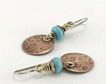 Handmade Earrings Mixed Metal Earrings Wire Wrapped Jewelry Rustic Copper Jewelry Artisan Jewelry Bohemian Earrings Dangle Earrings