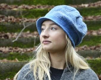 felt beanie unique Handmade hat felt hat felted beanie felt cap wool nunofelt hat warm winter fashion ooak hat