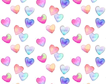 Neon Valentine Fabric - Watercolor Hearts Multi By Erinanne - Neon Cotton Fabric by the Yard with Spoonflower