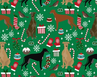 Greyhound Fabric - Greyhounds Dog Christmas Fabric By Petfriendly - Greyhound Dog Green Cotton Fabric by the Yard with Spoonflower