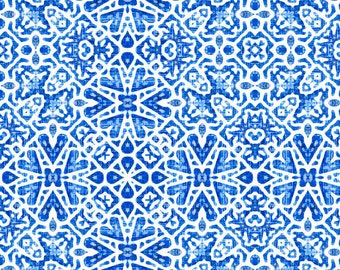 Blue and White Fabric - Scandinavian Lattice In Cobalt Blue By Joanmclemore - Scandi Blue Cotton Fabric By The Yard With Spoonflower