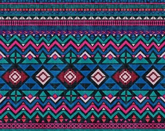 Jewel Tone Aztec Fabric - Aztec Forever By Demigoutte - Boho Geometric Southwestern Tribal Cotton Fabric By The Yard With Spoonflower