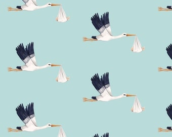 Baby Shower Fabric - Stork On Sky Blue By Thistleandfox - Baby Shower Stork Cotton Fabric By The Yard With Spoonflower