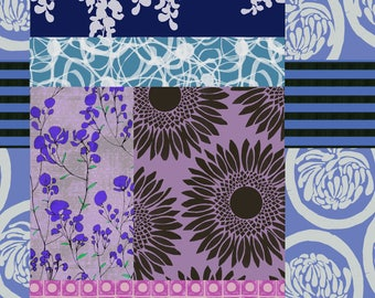 Floral Cheater Quilt Fabric - Ragbag By Nellig - Blue and Purple Cheater Quilt Cotton Fabric By The Yard With Spoonflower