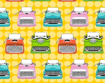 Typewriter Rainbow Fabric - Vintage Typewriters By Mirabelleprint - Retro Typewriters Cotton Fabric By The Yard With Spoonflower