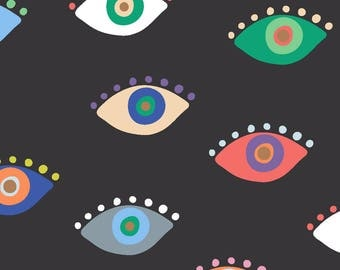 Colorful Eyes Fabric - Eyez Black By Kellytucker - Eyes Mod Abstract Multicolor Modern Home Decor Cotton Fabric By The Yard With Spoonflower