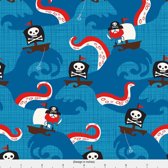 Baby boy pirate fabric pirate kraken by lizmytinger for Kids pirate fabric