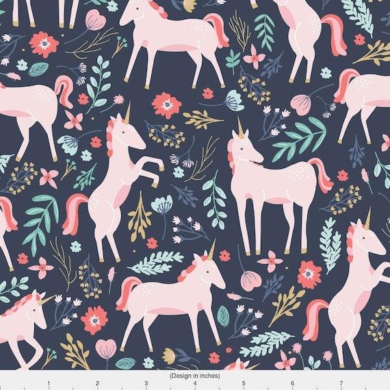 Unicorn Baby Girl Nursery Fabric Unicorn Fields By