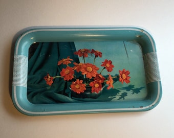 Vintage 1950s Turquoise Metal Kitchen Tray Display, Floral Photograph, Retro Kitchen