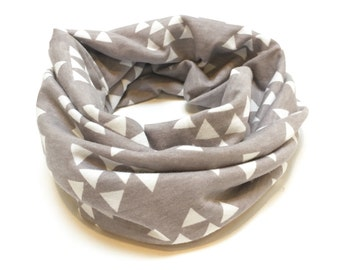 Grey and White Triangle Toddler / Child Infinity Scarf