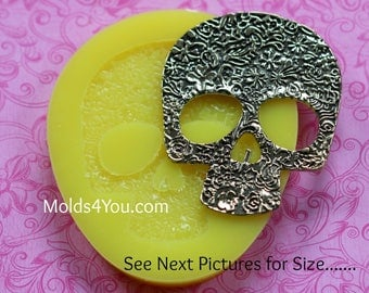 Silicone Skull Mold Fondant Sugar Skull Mold Wax Candle Mold Polymer Clay Resin Molds Fondant Baking Skull  Moulds
