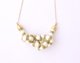 LAST ONE - Mini Stripe Rope Knot Long Necklace - Gold Stripe