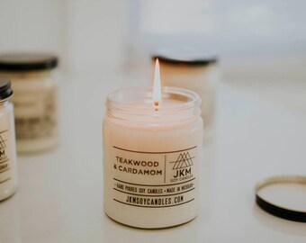 Teakwood & Cardamom soy candle