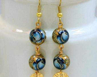 Vintage Japanese Tensha Bead Blue Rose Dangle Drop Earrings ,Gold Medallion Dangle - Aoi Rose
