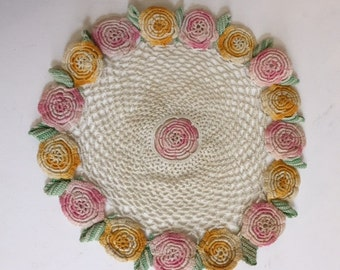 Round Crocheted Doile with Rosettes