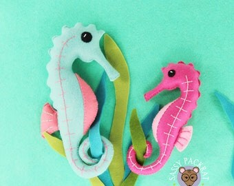 DIY PDF Seahorse Felt Sewing Plush Pattern-Instant Download-Seahorse Plush-Easy To Sew Seahorse DIY Pattern In Two Sizes-Sea Creature