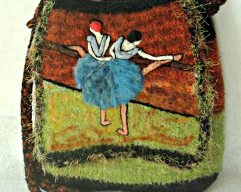 Felted Purse, Felted Handbag, Dega Art, Ballet Dancers,Dancers at the Barre, Great Masters Paintings