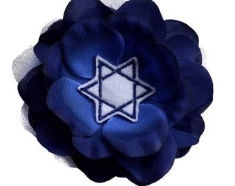 Hanukkah Blue Star of David Rose Silk and Organza Flower