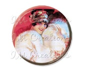 "15% OFF - Pocket Mirror, Magnet or Pinback Button - Wedding Favors, Party themes - 2.25""- Vintage 1920s Flirty Flapper MR349"