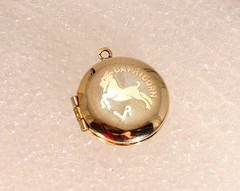 Capricorn Vintage Gold Locket Pendant for Necklace Round Goldtone Etched Zodiac Sun Sign