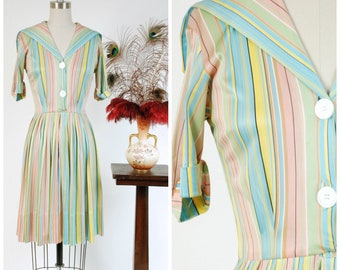 Vintage 1950s Dress - Classic Nylon Jersey Pastel Brights Shirtwaist Striped Day Dress with Knife Pleated Skirt and Sailor Collar