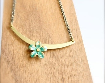 ON SALE SALE - Turquoise Green Flower Pendant Necklace Verdigris Patina Riveted Floral Boho Jewellery