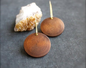 ON SALE Gold Brass Riveted Wood Dangle Earrings Round Drop Bohemian Brown Modern Boho Jewellery