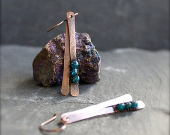 ON SALE Teal Blue Apatite Gemstone Earrings - Oxidized Copper Patina, Hammered Stick, Dangle Earrings, Wire Wrap, Metalwork Boho Jewellery