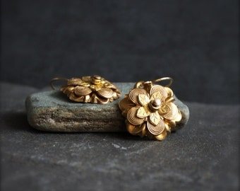 ON SALE Layered Flower Earrings - Gold Brass, Riveted Dangle, Floral Earrings, Boho Jewellery