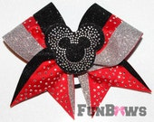 Beautiful New Disney Minnie Rhinestone Cheer Bow - Customize this - By FunBows !
