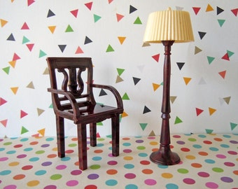 Vintage Dollhouse Lighting Plastic Floor Lamp and Chair Miniature Doll Furniture