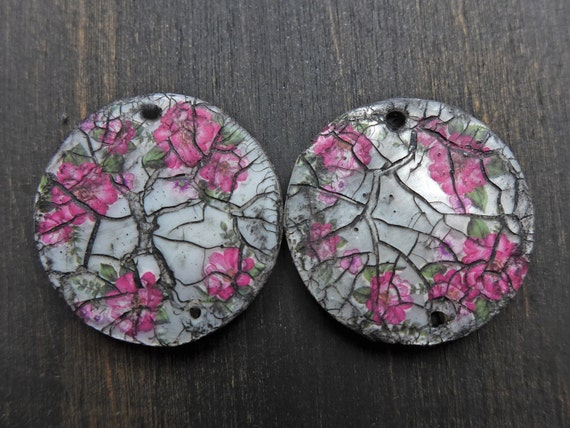 Altered mop earring pairs with floral decals and crackles, double sided.