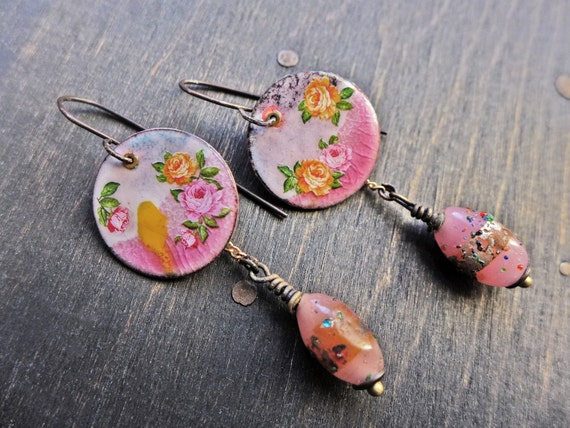 "Pink enamel earrings, handmade artisan dangles, ""A Dalliance"""
