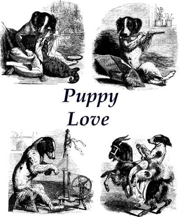 """puppy love dog printable wall art Digital graphics image Download living room bedroom art animals pets 8"""" x 9.9"""" black and white artwork"""