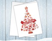 REDUCED! Season's Meatings Card with Happy Holiday's Message Inside