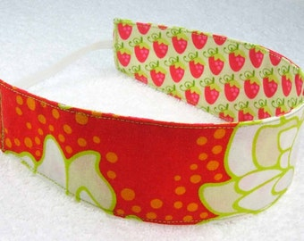 Child reversible headband RTS, red lime strawberries flowers Heather Bailey cotton fabric, baby toddler reversible girl party favor gift