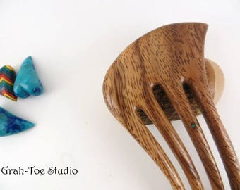 Hair Fork, Wood Hair Fork, Wooden Hair Fork, Albizia Wood Hair Fork, 4 Prong Mini , Nefertari Grahtoe Haiforks, Man Bun,Grahtoe,Hair toys