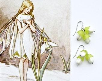 SNOWDROPS Floral Dangles, Bridal Earrings, Green White Dangles, Cottage Chic Dangling Earrings, Boho Earrings, Small Earrings, Modern Drops