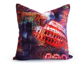 Colorful Abstract Art Pillow, Urban Pillow Covers, Red Purple Pillow Covers, Digital Print Pillows, Eclectic, Teen Room Decor 18x18