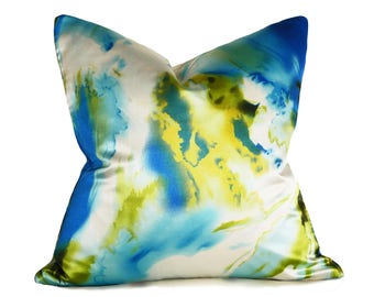 Abstract Watercolor Pillow, Vibrant Blue Green Decorative Pillow Covers, Blue Chartreuse White Coastal Pillows, Watercolor Cushions 18x18