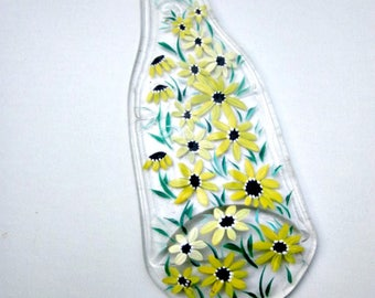 Spoon Rest, Kitchen Trivet,  Melted Clear Beer Bottle,  Hand Painted Shades of Yellow Flowers,  Candle Holder